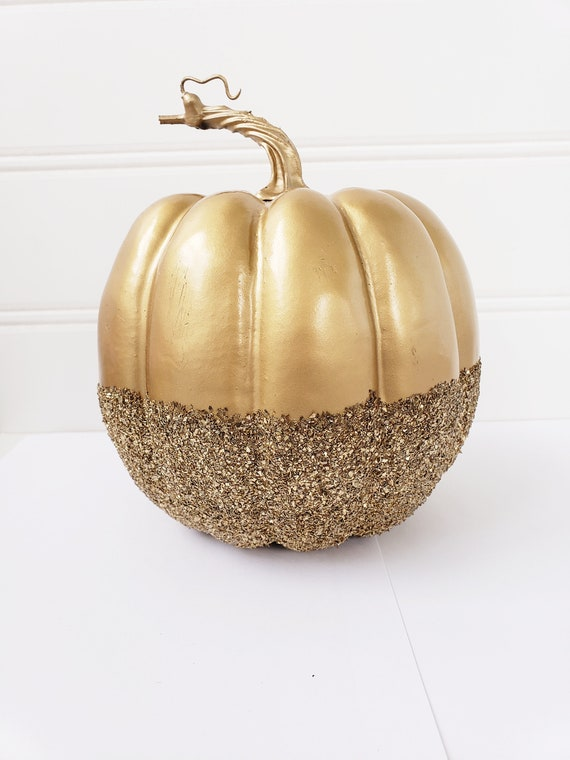 1 Gold Glitter Pumpkin Faux Glittered Pumpkin Halloween Decor