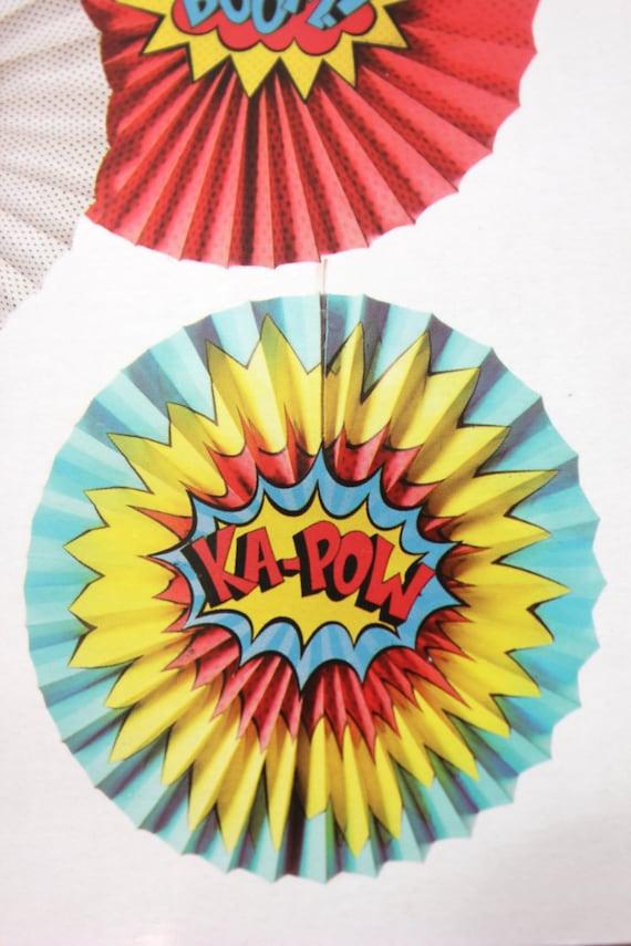 Sale 5 SUPERHERO PAPER FANS Pinwheels Hanging Fan Rosettes Birthday Super Hero Theme Comic Book Pow Bang Bam Zing Kapow Superman Spiderman