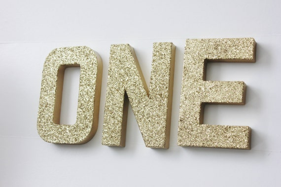 Sale ONE GLITTER LETTERS Free Standing Sign Letter Paper Mache Gold Silver  or Custom Colors Numbers 1st Birthday Party Table Cake Smash Prop