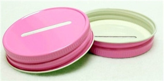 1 Pink Coin Slot Lids Mason Jar Glass Jars Bank Diy Piggy Bank