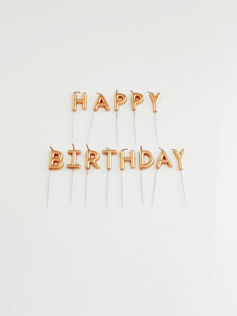 GOLD HAPPY BIRTHDAY Glitter Mini Cake Candles Sign Golden