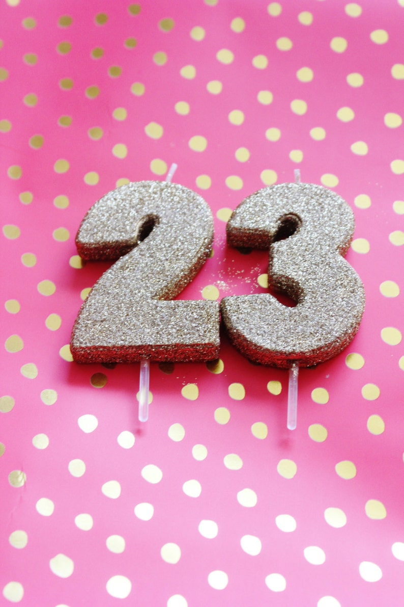 SALE 3 GLITTER GOLD Candle Number Numeric Birthday Cake
