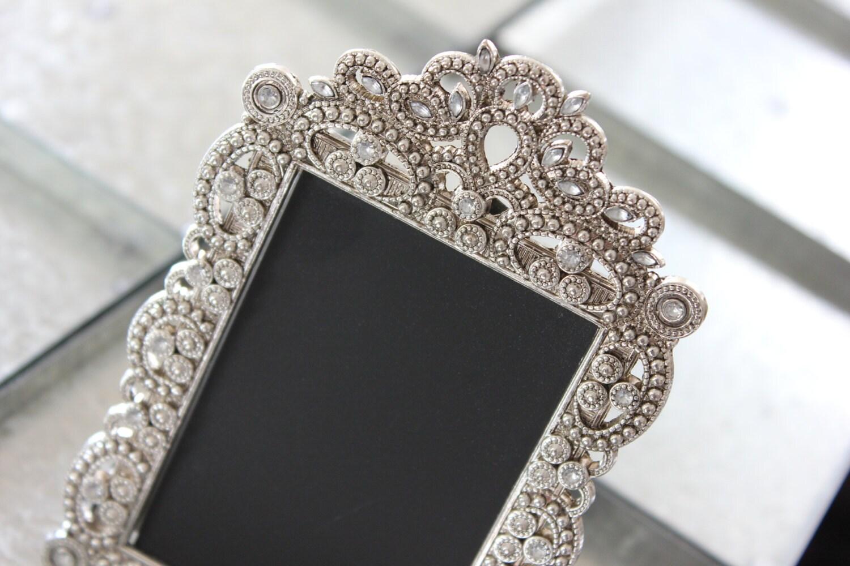 2 Vintage Style Jeweled Rhinestone Frame Bling Silver Diamond Etsy