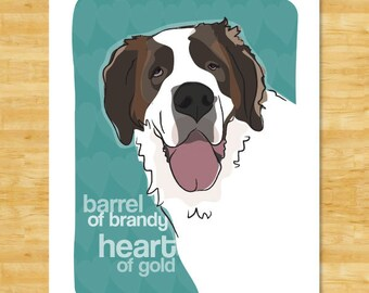 022aa815b10c St Bernard Art Print - Barrel of Brandy Heart of Gold - Saint Bernard Gifts  Funny Dog Art Prints