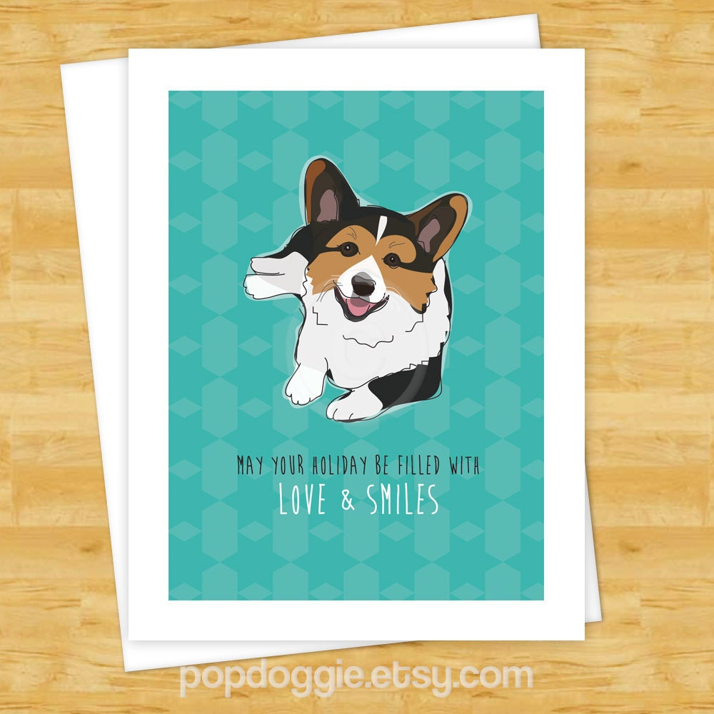 Dog Christmas Cards Tricolor Corgi May Your Holiday Be | Etsy