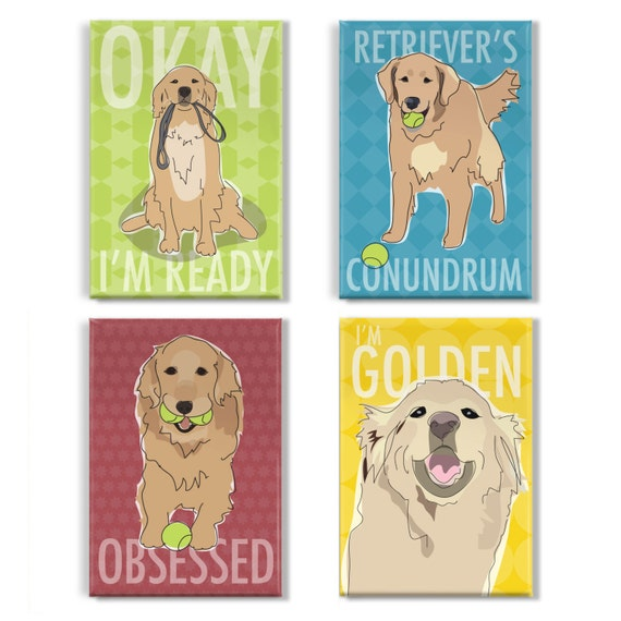 Golden Retriever Dog  ... Colourful Metal fridge magnet Sign,