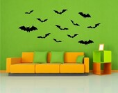 Bats Vinyl Decals 12 Pack  Halloween vinyl wall window decals stickers