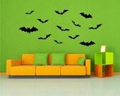 Bats Vinyl Decals 12 Pack  Halloween vinyl wall window decals stickers