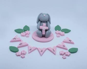 Personalised Handmade Edible Sugar Fondant Rabbit Bunny Baby Christening, Baptism Cake Topper/Decoration
