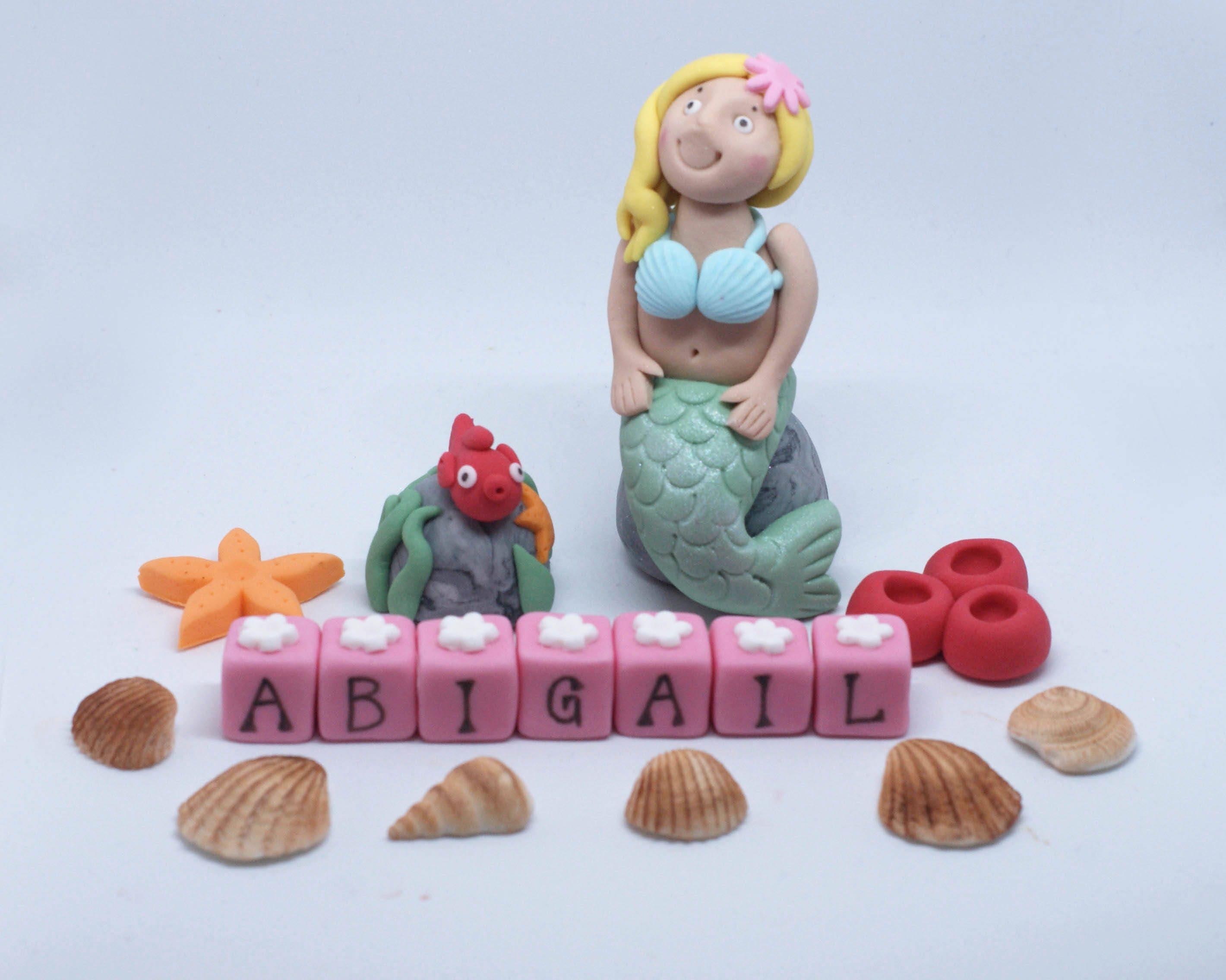 Personalised Handmade Sugar Edible Mermaid Birthday Cake