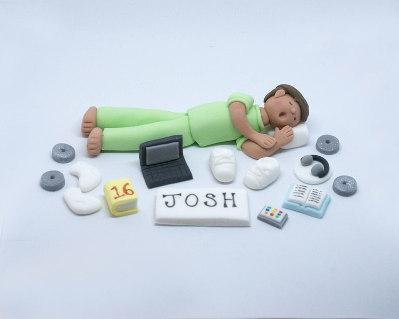 Handmade Sugar Edible Teen Boy Bedroom Personalised Birthday