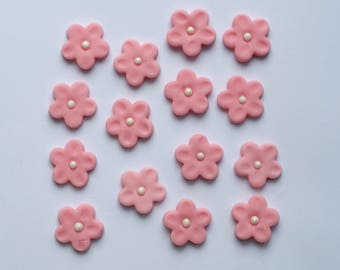 15x Edible Sugar Fondant Girly Pink Flowers Cake Cupcake Topper Decoration
