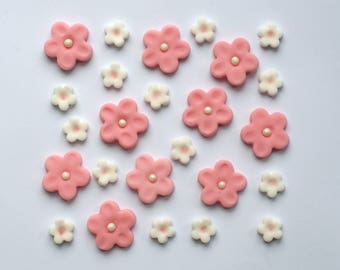 25x Edible Fondant Sugar Girly Pink Flowers Cake Cupcake Topper Decoration