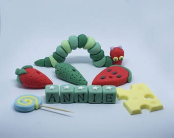 Handmade Sugar Personalised Very Hungry Caterpillar Style Cake Topper/Decoration