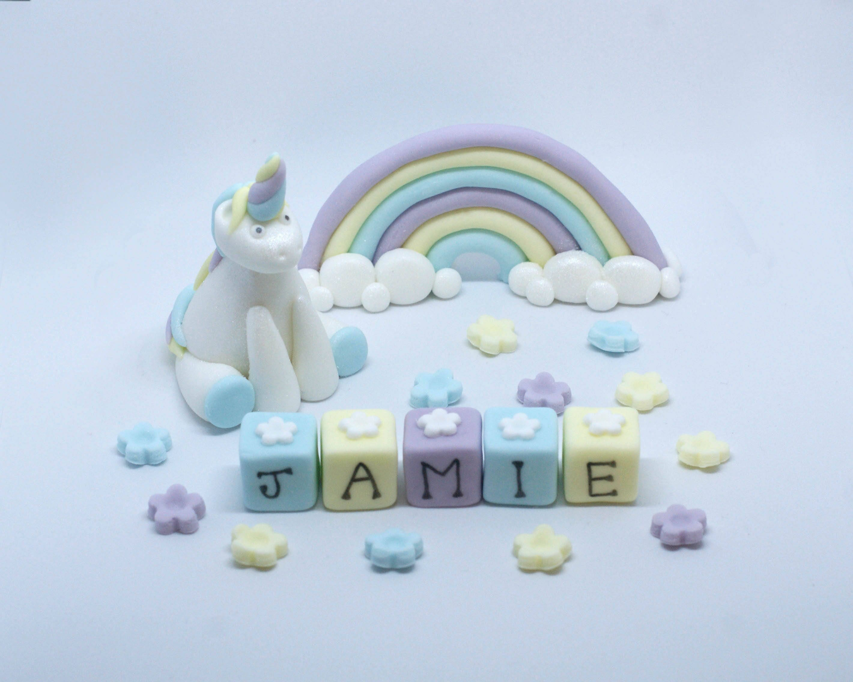 Personalised Handmade Edible Sugar Unicorn And Rainbow