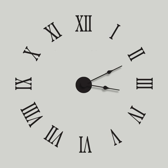 Large Wall Clock Vinyl Wall Decal Clock Kit With Extra