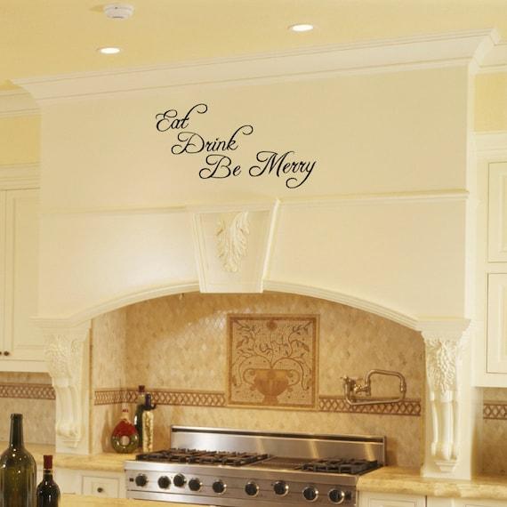 Cocina y comedor sala vinilo pared Art - comer beber ser feliz - Vinilo  removible etiqueta de la pared por Katazoom