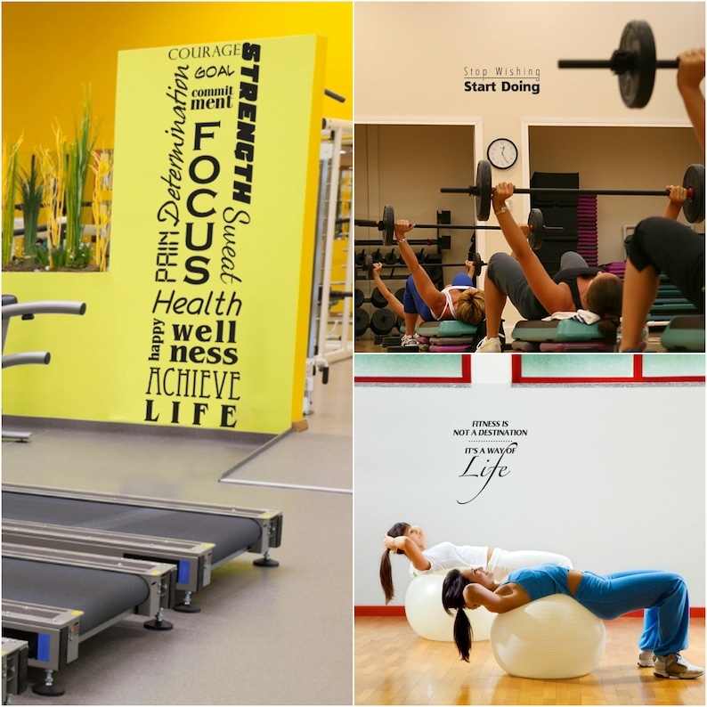 Decorating your personal gym five fitness decals for one etsy