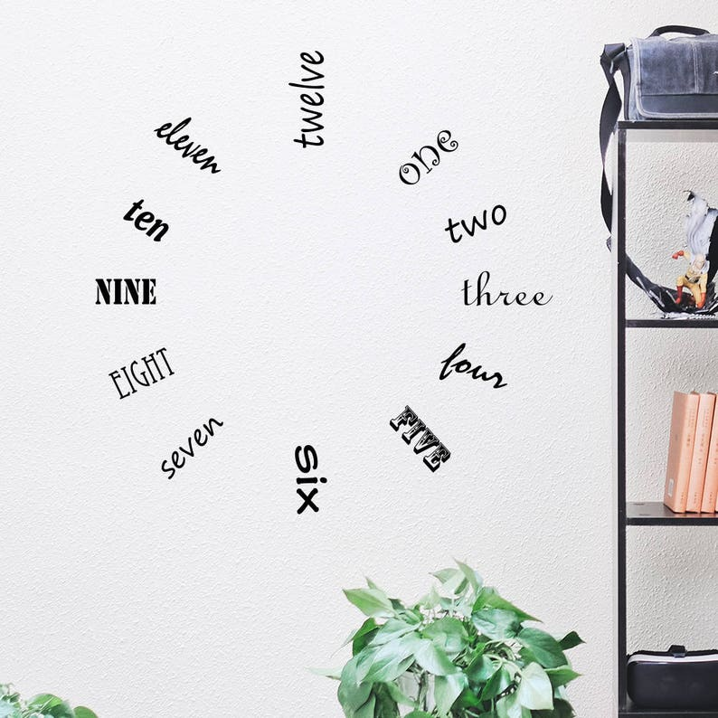 Large Wall Clock Vinyl Wall Decal    HGTV Inspired Design image 0