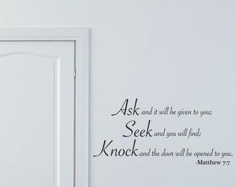 Wall Decals Wall Words Wall Stickers - Matthew Ask Seek Knock