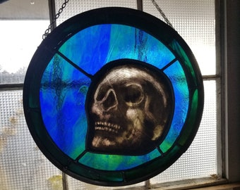Skull Stained Glass Window