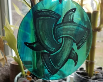 Odin's Horns Celtic hand painted traditional stained glass sun catcher