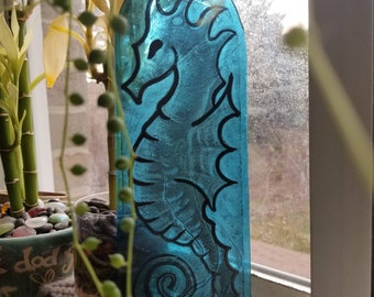 Seahorse hand painted traditional stained glass sun catcher