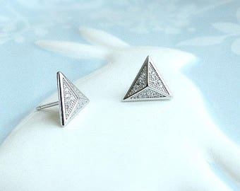 a237a2ee5 Pyramid stud earrings, Sterling silver or Rose gold fill