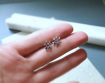 Hashtag earrings, small silver studs, fashion jewelry