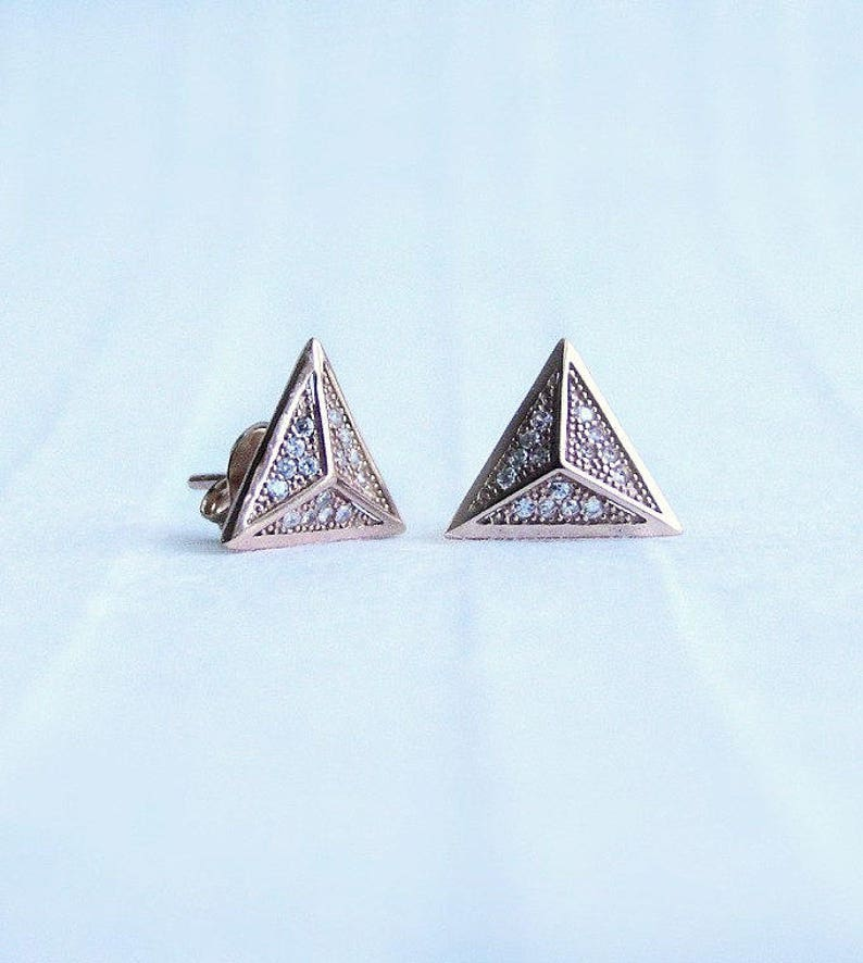 914edaa72 Pyramid stud earrings rose gold filled jewelry | Etsy