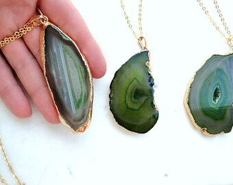 Green Agate necklace, Geode slice necklace, druzy pendant, gold dipped geode pendant, long necklace with gemstone pendant, gift for her