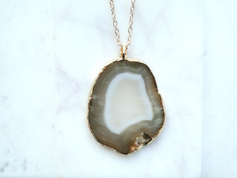 gold-dipped slice necklace Polished Agate necklace pendant raw gemstone charm