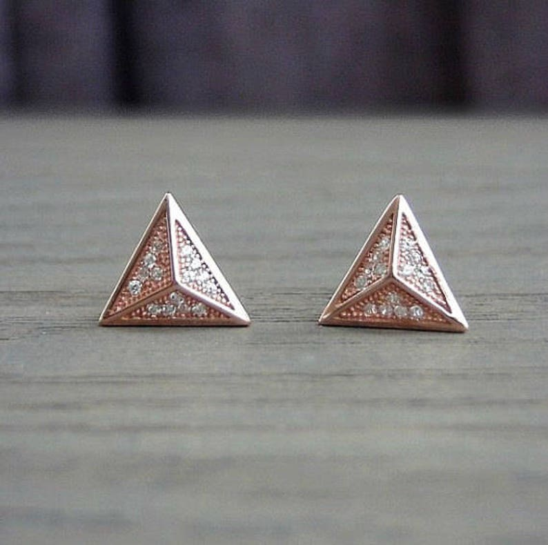 325290b3259 Pyramid stud earrings rose gold filled jewelry | Etsy
