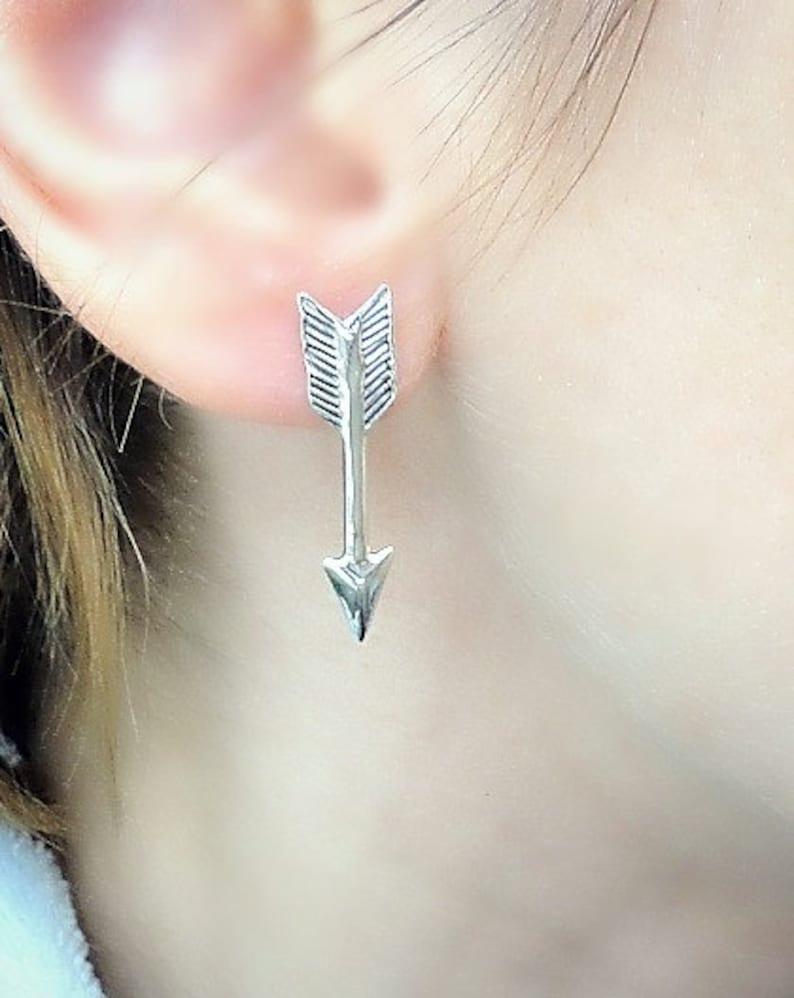 21b838eb4 Silver Arrow Earrings Arrow Studs Katniss Earrings Long   Etsy