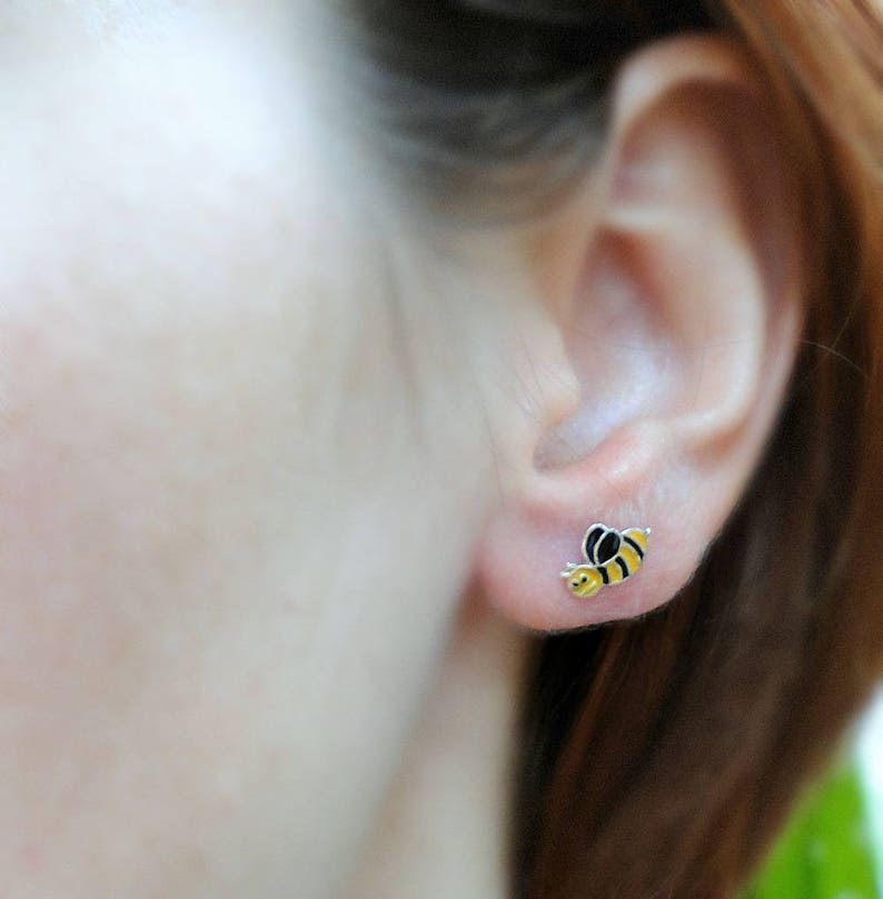 1cb7f9a68 Dainty bee stud earrings sterling silver bee earrings | Etsy
