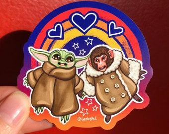 "IKEA Monkey and Small Green Cute Alien BFFs - 3"" magnet"