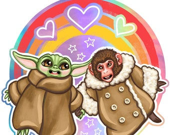 """IKEA Monkey and Small Green Cute Alien BFFs - 3"""" holographic sticker"""
