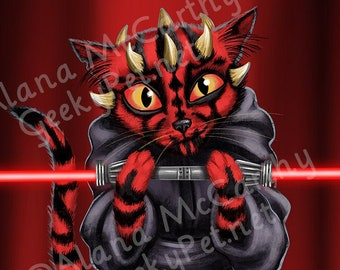 Darth Maul Cat - 10x8 art print -  Star Wars Darth Maul holding his double ended lightsaber