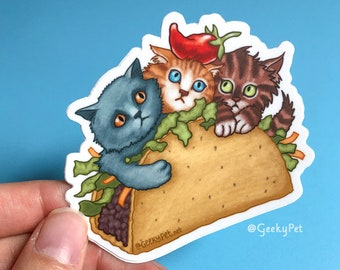 "Cat Taco - 3"" vinyl sticker or magnet for cat lovers"