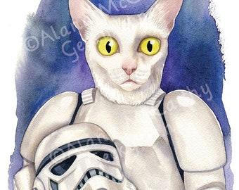 "Stormtrooper Cat - 8 x 10"" print of a white cat holding a stormtrooper helmet"