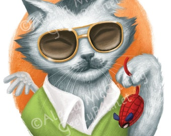Stan Lee Cat - 8 x 10 art print - Kitty version of Stan Lee holding a spider-man mouse cat toy