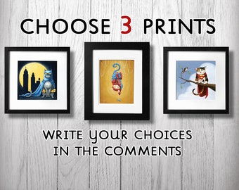 Three GeekyPet art prints for only 40 dollars USD