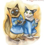 """Star Trek Cats - Watercolor 8x10"""" print of Spock and Bones bewildered by a tricorder"""