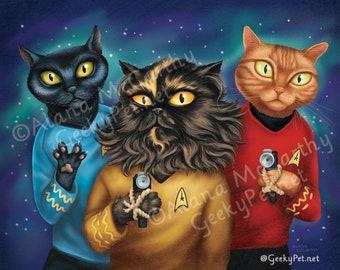 "Star Trek Cats - 8 x 10"" art print - three kitties dressed up as Spock, Kirk and Scotty"