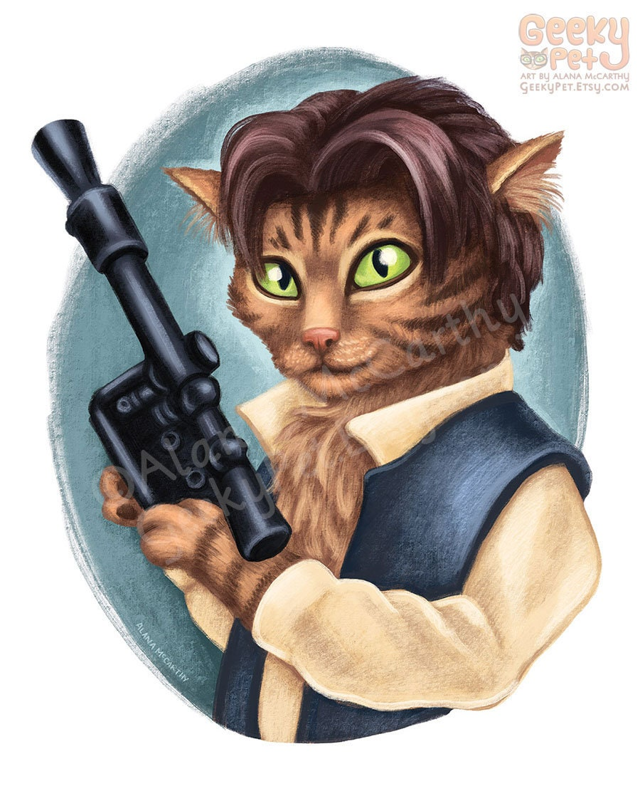 Han Solo Cat 8 X 10 Art Print From Star Wars As A Etsy Geeky Quotyou Complete Mequot Electrical Circuit Quot Greeting Cards With Blaster