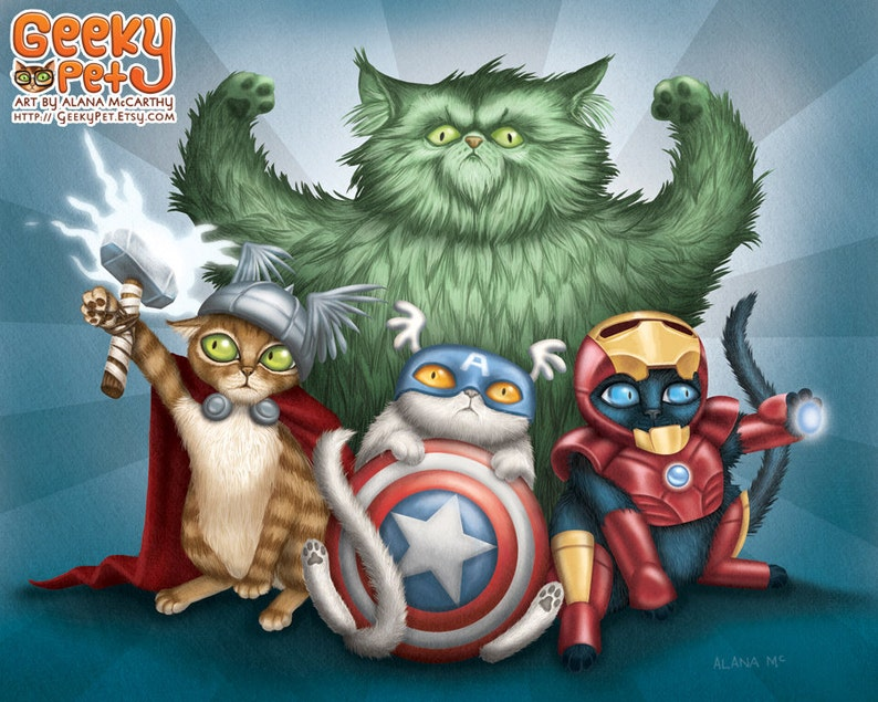 Cat Avengers  10x8 art print  cats dressed up like Thor image 0