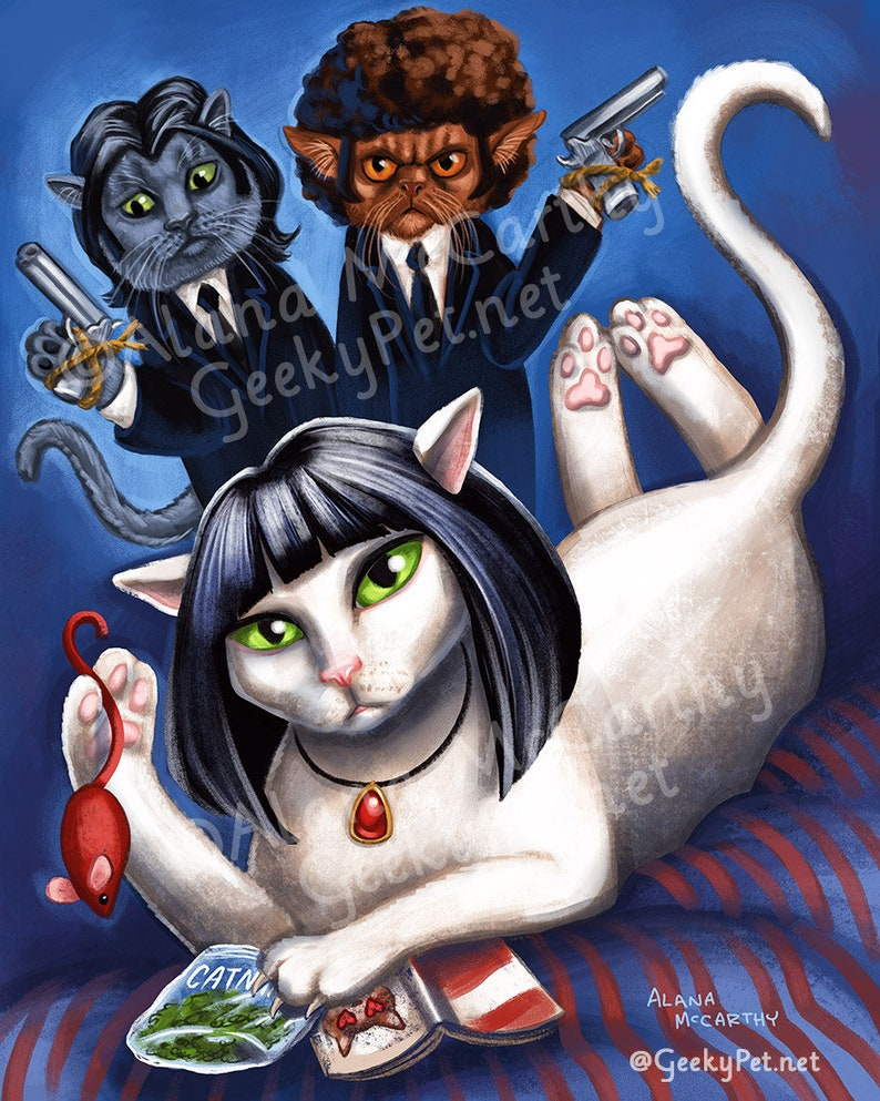 Pulp Fiction Cats  8 x 10 art print  Parody of Uma Thurman image 0