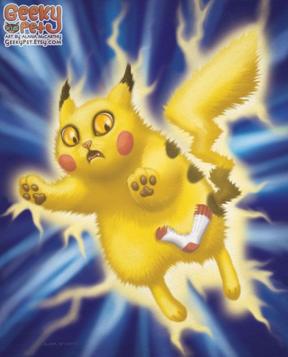 pikachu cat 8 x 10 art print pikachu kitty pokemon is having static electricity problems