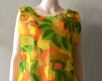 RARE Vintage  60s Psychedelic Flower Paper Dress