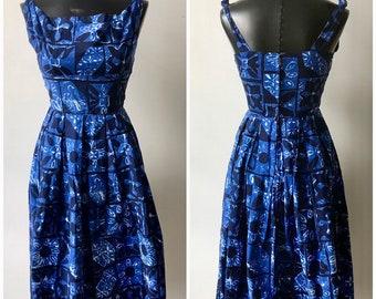 99547451d48 VINTAGE ALFRED SHAHEEN Blue Batik Print Hawaiian 1950s Original